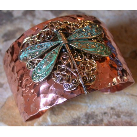 Trimetal Forged Copper and Patina Brass Neo-Victorian Dragonfly with Filigree Cuff Bracelet