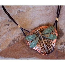 Patina Brass Neo-Victorian Dragonfly with Filigree on Forged Copper Pendan