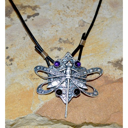 Mirror Antique Large Victorian Filigree Dragonfly Pendant - Amethyst, Black Onyx