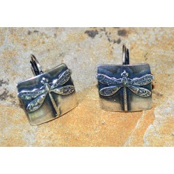 Mirror Antique Silver Classic Dragonfly Earrings