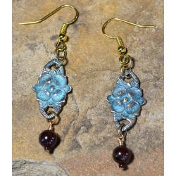 Verdigris Patina Brass Victorian Floral Earrings