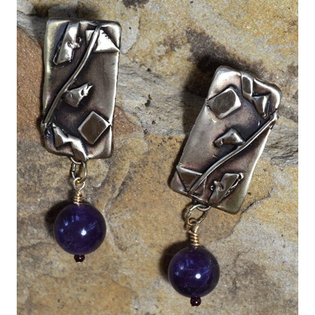 Abstract Collection Lost Wax Cast Antique Bronze Earrings