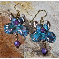Verdigris Patina Brass African Orchid Earrings - Violette Opal Swarovski Crystals