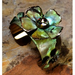 Olive Patina Brass Sculptural Flowers Tapered Cuff Bracelet - Swarovski Crystals