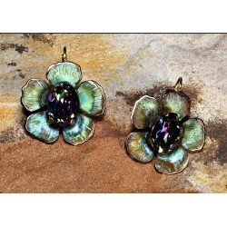 Olive Patina Brass Sculptural Flower Earrings - Paradise Swarovski Crystals
