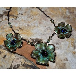 Olive Patina Graduated Sculptural Flowers Necklace