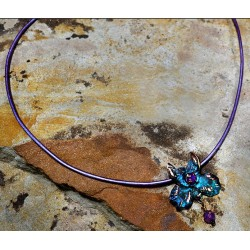 Verdigris Patina Brass African Orchid Pendant on Rawhide - Violette Opal Swarovski Crystals
