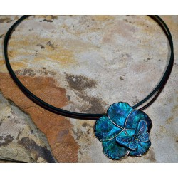 Verdigris Patina Brass Asian Delight Large Butterfly and Flower Pendant