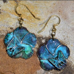 Verdigris Patina Brass Asian Delight Butterfly and Flower Earrings