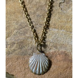 White Patina Brass Scallop Shell Pendant