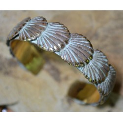 White Patina Brass Overlapping Scallop Shells Cuff