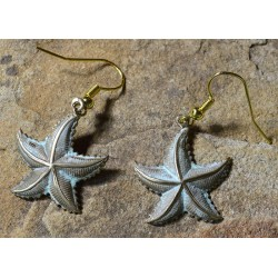 White Patina Brass Starfish Dangle Earrings