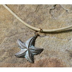 White Patina Brass Starfish Pendant
