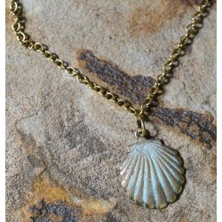 White Patina Brass Scallop Shell Ankle Bracelet