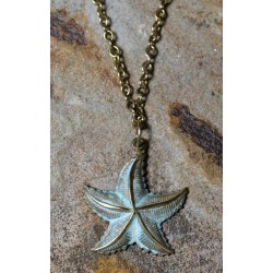 White Patina Brass Starfish Ankle Bracelet