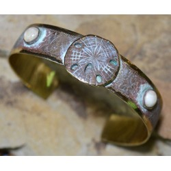 White Patina Brass Sand Dollar Cuff - Riverstone