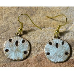 White Patina Brass Sand Dollar Dangle Earrings