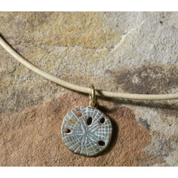 White Patina Brass Sand Dollar Pendant