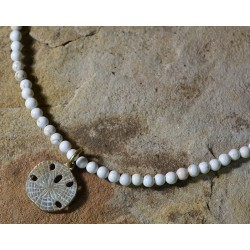 White Patina Brass Sand Dollar Necklace