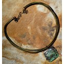 Olive Patina Solid Brass Detailed Crab on Domed Square Pendant - Rawhide