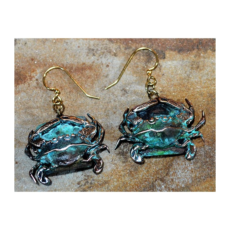 Olive Patina Solid Brass Detailed Crab Dangle Earrings