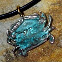 Olive Patina Solid Brass Detailed Crab Pendant on Rawhide