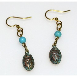 Verdigris Patina Solid Brass Egyptian Motif Scarab Earrings