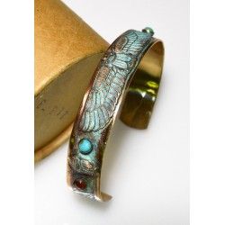 Verdigris Patina Solid Brass Egyptian Motif Scarab Cuff, Turquoise, Carnelian