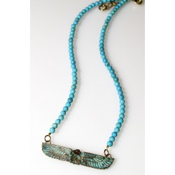 Verdigris Patina Solid Brass Egyptian Motif Scarab Necklace - Turquoise