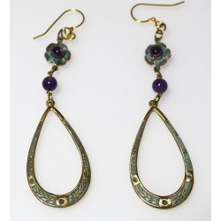 Verdigris Patina Brass Floral Dangle Earrings - Amethyst