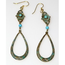 Verdigris Patina Brass Floral Dangle Earrings - Turquoise