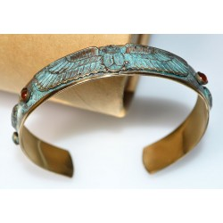 Verdigris Patina Solid Brass Egyptian Motif Scarab Cuff, Carnelian, Turquoise