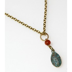 Verdigris Patina Solid Brass Egyptian Motif Scarab Necklace