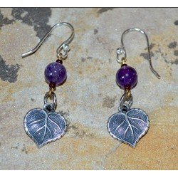 Mirror Antique Silver Small Leaf Dangle Earrings - Amethyst