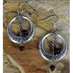 Antiqued Silver Brass Bohemian Chic Floral Hoop Dangle Earrings - Garnet