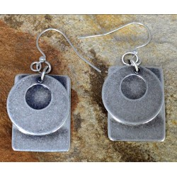 Antiqued Silver Brass Bohemian Chic Open Circle on Rectangle Stacked Double Dangle Earrings