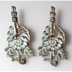 White Chocolate Patina Brass Floral Earrings