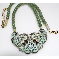 White Chocolate Patina Brass Floral Necklace - Sea Jade Beading