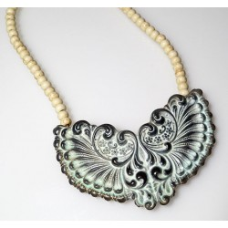 White Chocolate Patina Brass Necklace - White Turquoise Beading