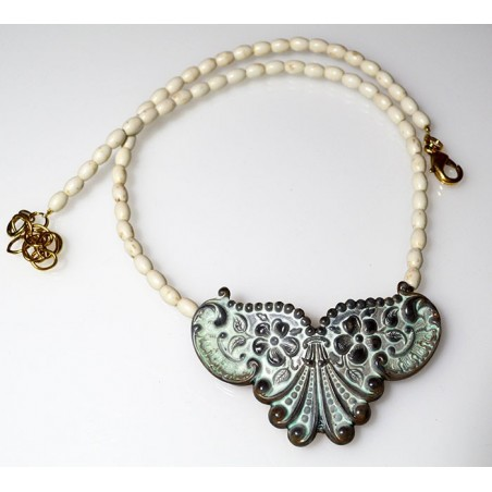 White Chocolate Patina Brass Floral Necklace - White Turquoise Rice Beading