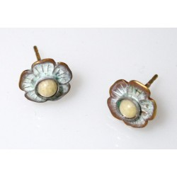 White Chocolate Patina Solid Brass Delicate Flower Button Earrings