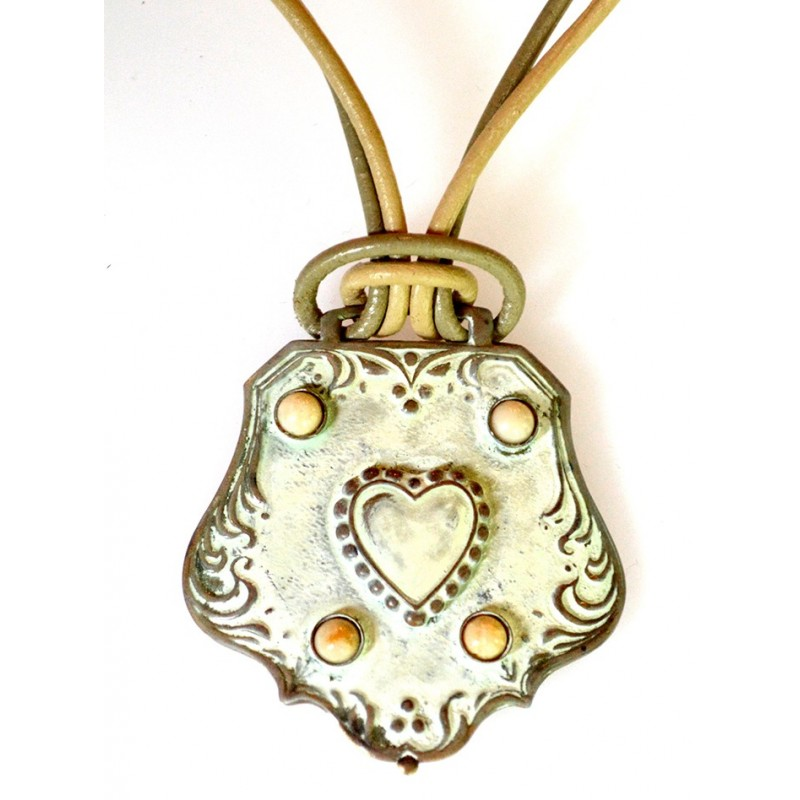 White Chocolate Patina Solid Brass Heart Key Fob Necklace