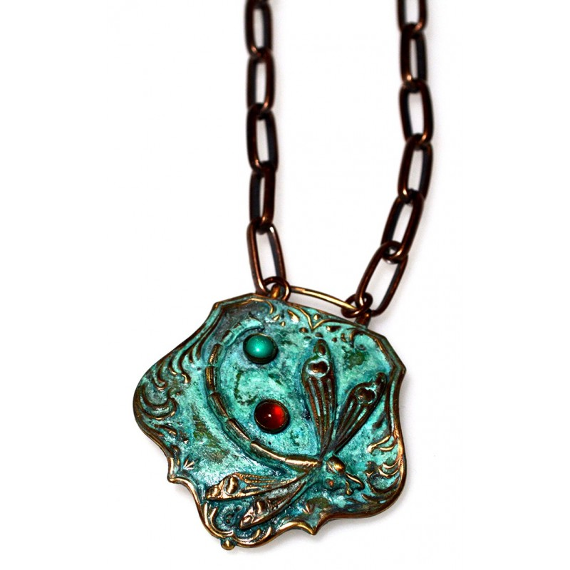 Verdigris Patina Solid Brass Dragonfly Key Fob Necklace