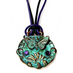 Verdigris Patina Solid Brass Butterfly Key Fob Necklace