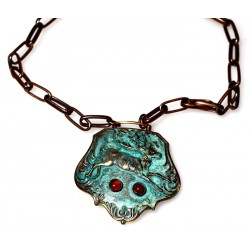 Verdigris Patina Solid Brass Reindeer Key Fob Necklace