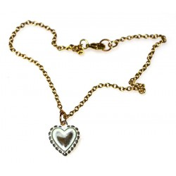 White Chocolate Patina Brass Heart Ankle Bracelet