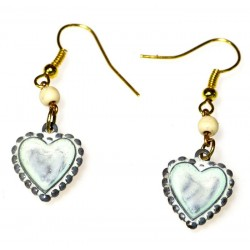 White Chocolate Patina Solid Brass Heart Earrings
