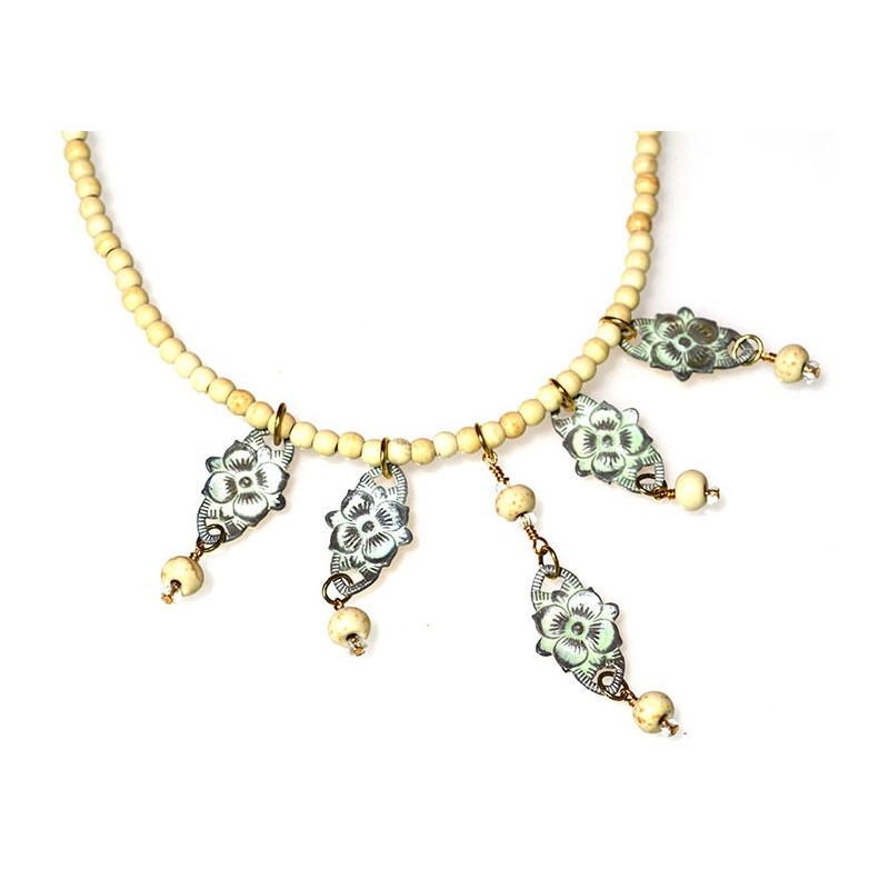 White Chocolate Patina Brass Floral Necklace