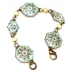 White Chocolate Patina Brass Floral Bracelet