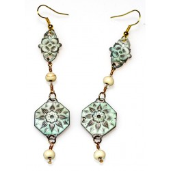 White Chocolate Patina Brass Floral Dangle Earrings